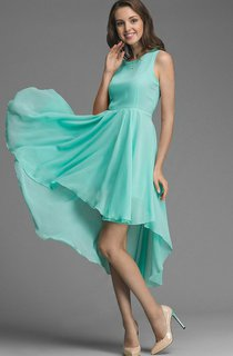Bateau Sleeveless Chiffon High Low Dress With Sash