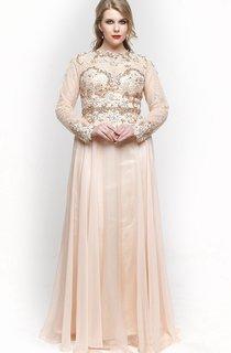 A-Line Floor-Length High-Neck Long Sleeve Chiffon Pleats Beading Zipper Dress