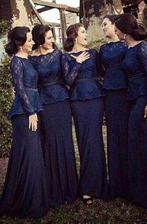 sheath Bateau Long Sleeves Sweep Train Lace Chiffon Bridesmaid Dresses