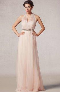 Floor Length A-line Tulle Dress With Beaded Waist
