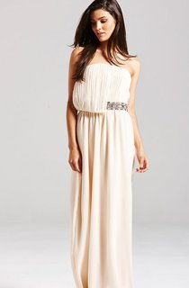 Scalloped Neckline Long Pleated Dress With Draped Front