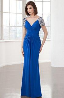 Sheath Long V-Neck Short Sleeve Chiffon Ruching Beading Low-V Back Dress
