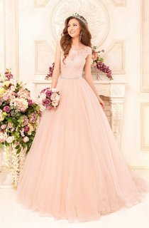Long Bateau Neck Short Sleeve A-line Tulle Wedding Dress With Beaded Waist