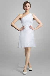 Knee Length Chiffon Wedding Dress With One Shoulder Neckline
