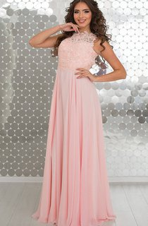 A-Line Floor-Length High-Neck Sleeveless Empire Chiffon Pleats Appliques Keyhole Dress