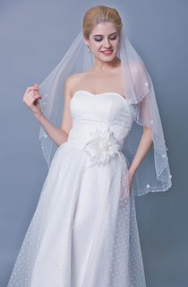 Mid Two Tier Veil With Beadings