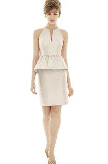 Satin Sleeveless Fitted Dress With Peplum