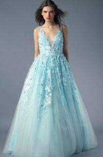 A-line Floor-length V-neck Sleeveless Tulle Illusion Dress