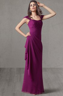 Floor Length Chiffon Bridesmaid Dress With Keyhole Back