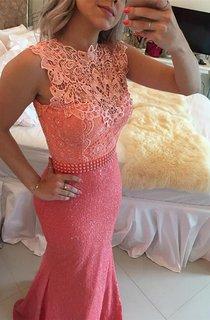 Timeless Sleeveless Lace Pearls Prom Dresses 2016 Mermaid Long Zipper Back
