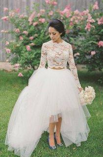 A-Line Short High Neck Jewel Long Sleeve Bell Zipper Tulle Lace Dress