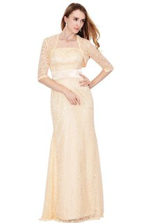 Strapless Lace Long Dress With Matching Jacket