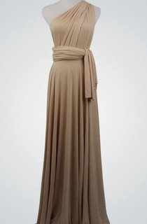 One Shoulder A-line Pleated Jersey Long Dress With Sash