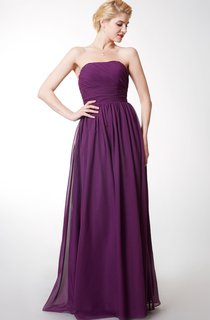 Sheath Elegant Strapless Floor-length Chiffon Bridesmaid Dress