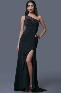 One-shoulder Long Jersey Prom Dress With Beaded Sheer Midriff&back