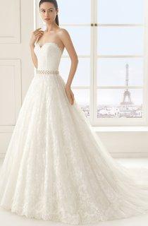Sleeveless Sweetheart Lace A-line Dress With Beading Sash