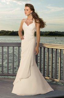 sheath V-neck Halter Chiffon Wedding Dress