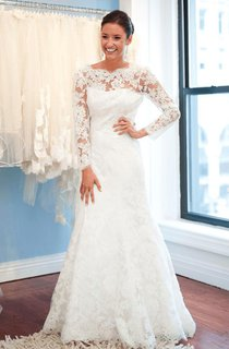 Elegant Lace Long Sleeve Wedding Dress 2016 White Sweep Train