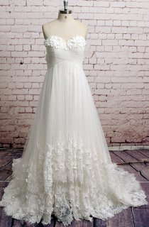 Empire Sweetheart Lace and Tulle Dress With Petals and Crisscross Ruching