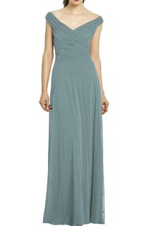 Off-the-shoulder Ruched Long Bridesmaid Dress