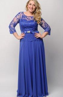 Empire Floor-Length Bateau 3 Empire Chiffon Lace Illusion Dress