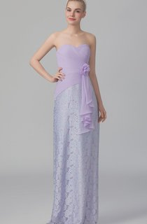 Side Draped Sweetheart Dress With Floral Detail
