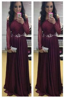 Stunning Long Sleeve Off-the-shoulder Evening Dresses 2016 Burgundy Lace Appliques Crystal