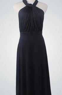 Halter Sleeveless A-line Jersey Floor Length Dress