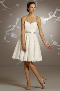 Demure Sweetheart Neckline Knee Length Lace Dress With Scalloped Hem
