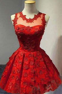 Sleeveless Short v-neck Lace Dress With Pleats