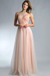 A-line Floor-length High Neck Sleeveless Tulle Low-V Back Dress