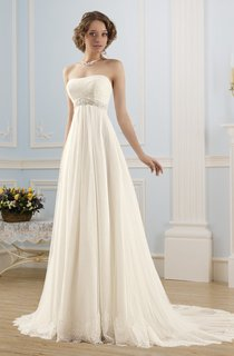 A-Line Floor-Length Strapless Sleeveless Empire Corset-Back Lace Tulle Dress With Waist Jewellery And Pleats