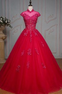 Ball Gown Floor-Length High Neck Bell Cap Beading Appliques Corset Back Tulle Lace Dress