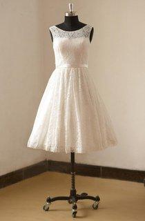Tea Length A-Line Sleeveless Lace Dress With Bateau Neck and Satin Waistbelt