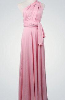 One Shoulder A-line Jersey Long Dress With Sash and Pleats