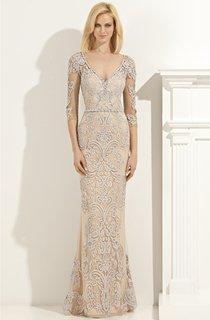 Sheath Floor-Length V-Neck Half Sleeve Lace Appliques Beading Illusion Dress