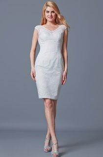 Exquisite Short Sleeve V Neck Lace Dress With Low-v Back