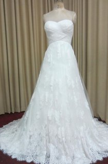 Sweetheart A-Line Lace Gown With Ruched Crisscross Bodice and Lace-Up Back