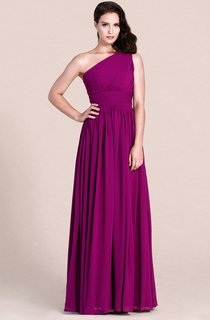 Chic One-shoulder Long Gown With Pleats