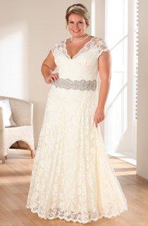A-Line Floor-Length V-Neck Cap Lace Waist Jewellery Dress