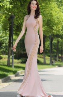 Sheath Floor-Length Sweep Bateau Sleeveless Jersey Beading Dress