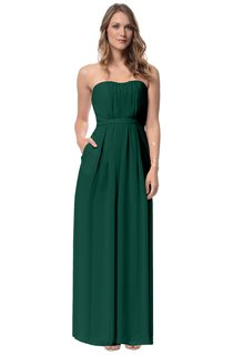 Chiffon Strapless Stylish Long Dress With Pockets