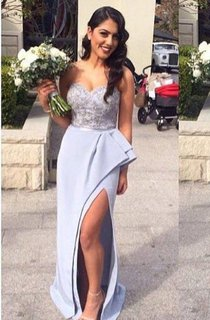 Sweetheart Beading Appliques Front Split Ruffles Lace Sequins Satin Dress