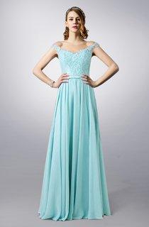 Bateau Neck Lace and Chiffon Long Dress With Illusion Back
