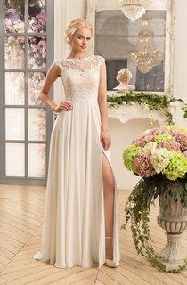 Sheath Maxi Bateau Cap-Sleeve Illusion Chiffon Dress With Split Front And Appliques