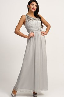 Shiny Graceful High Waist Gown With Sash