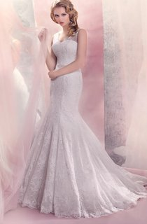 V-neck Mermaid Lace Wedding Dress With Beading And Sweep Train