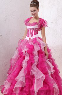 Flattering Organza Ball Gown With Ruffles and Embroideries