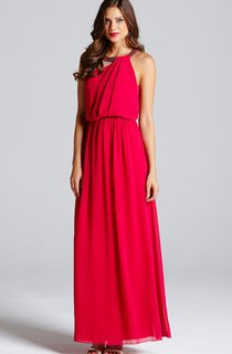 Long Dress With Keyhole And Has Draped Bodice