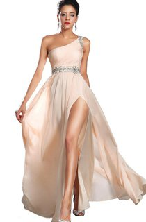 One-shoulder Chiffon Dress With Side Slit